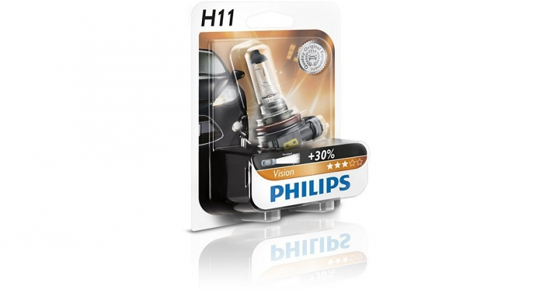 Лампа, 12 В, 55 Вт, H11, PGJ19-2, PHILIPS, 12362PRB1