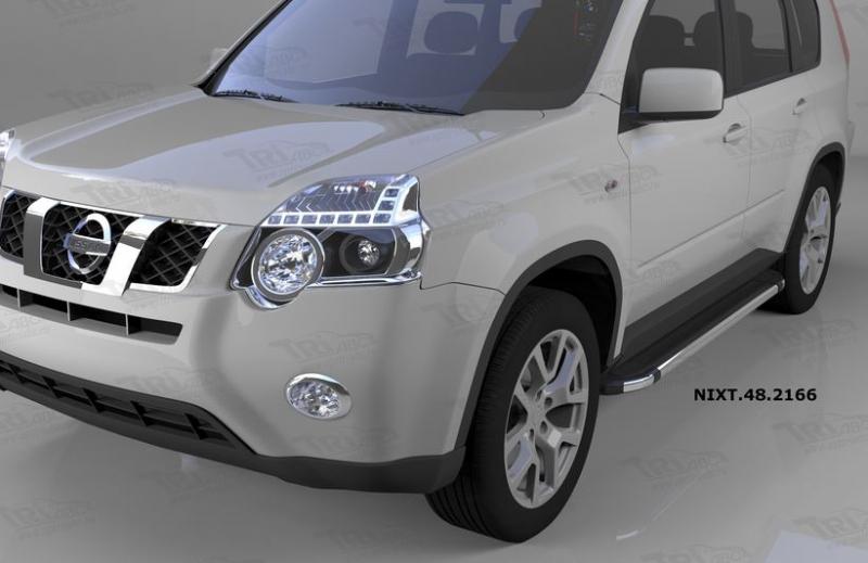 Пороги алюминиевые (Brillant) Nissan X-Trail (Ниссан Икстрейл) (2007-2010-2014) (черн/нерж), NIXT482
