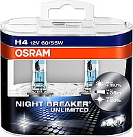 Лампа NIGHT BREAKER UNLIMITED, 12 В, 60/55 Вт, H4, P43t, OSRAM, 64193NBU02B