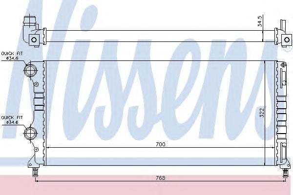 Радиатор системы охлаждения, NISSENS, 61765