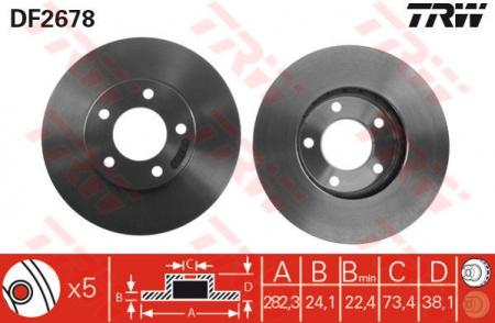Диск тормозной передний, TRW, DF2678