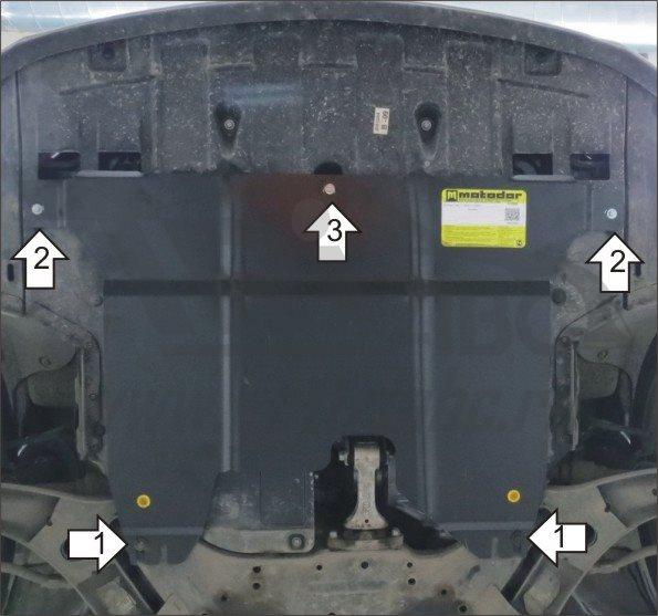Защита картера двигателя, КПП Hyundai Elantra 2010-2014-/I30 2011-/Kia Ceed 2012-2015-/ Cerato 2013-