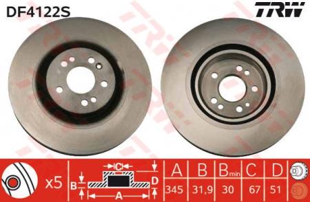 Диск тормозной передний, TRW, DF4222S