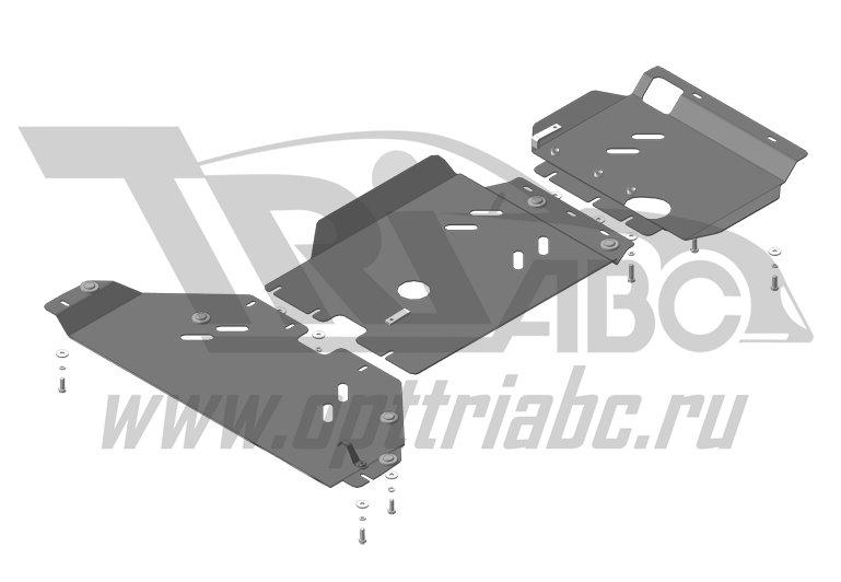 Защита картера двигателя, КПП, РК Ford Ranger 2011>, MOTODOR10705