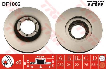 Диск тормозной передний, TRW, DF1002