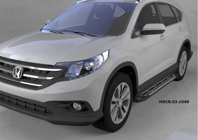 Пороги алюминиевые (Corund Silver) Honda (Хонда) CR-V (2012--2014 / 2015-), HOCR531048