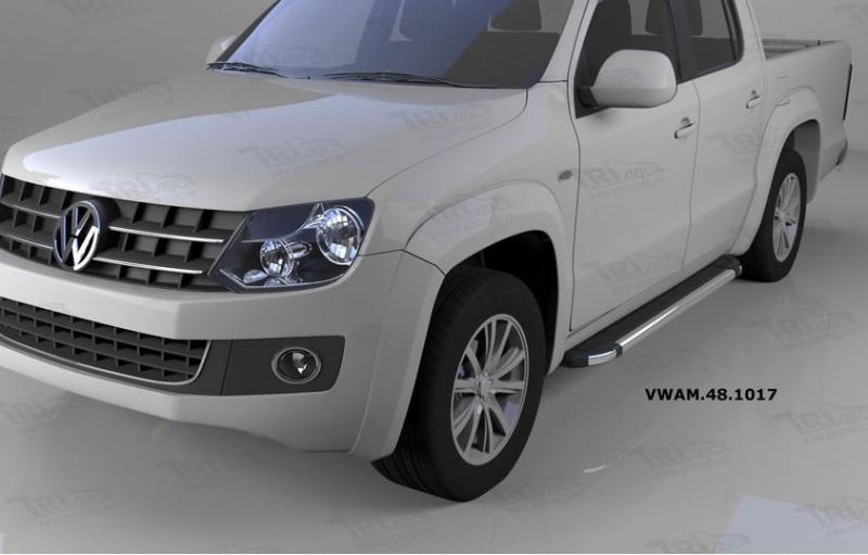 Пороги алюминиевые (Brillant) Volkswagen Amarok (Амарок) (2010-) (черн/нерж), VWAM481017