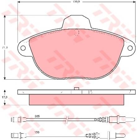 Колодки дисковые Передние, TRW, GDB1301