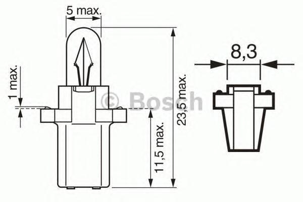 Лампа Trucklight, 24 В, 1,2 Вт, B8,3d, BOSCH, 1 987 302 515