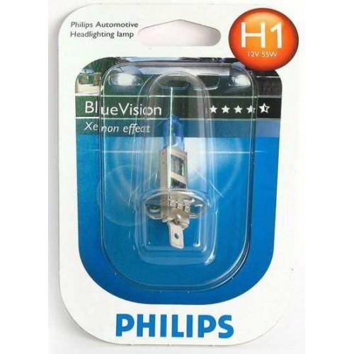 """Лампа """"BlueVision"""", 12 В, 55 Вт, H1, P14,5s, PHILIPS, 12258 BV"""