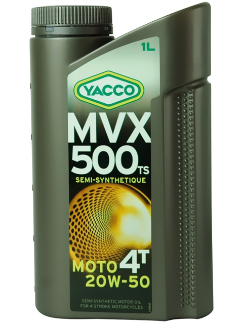 Масло для мотоциклов с 4-тактными двигателями YACCO MVX 500 TS 4T п/синт. 20W50, SL (1 л)