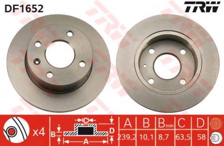 Диск тормозной передний, TRW, DF1652