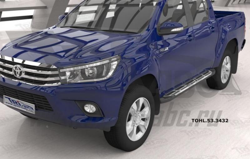 Пороги алюминиевые (Corund Silver) Toyota HiLux (2015-), TOHL533432