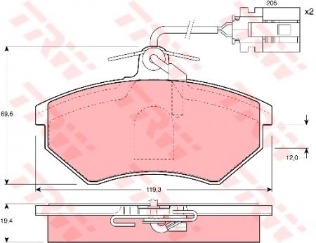 Колодки дисковые Передние, TRW, GDB1057