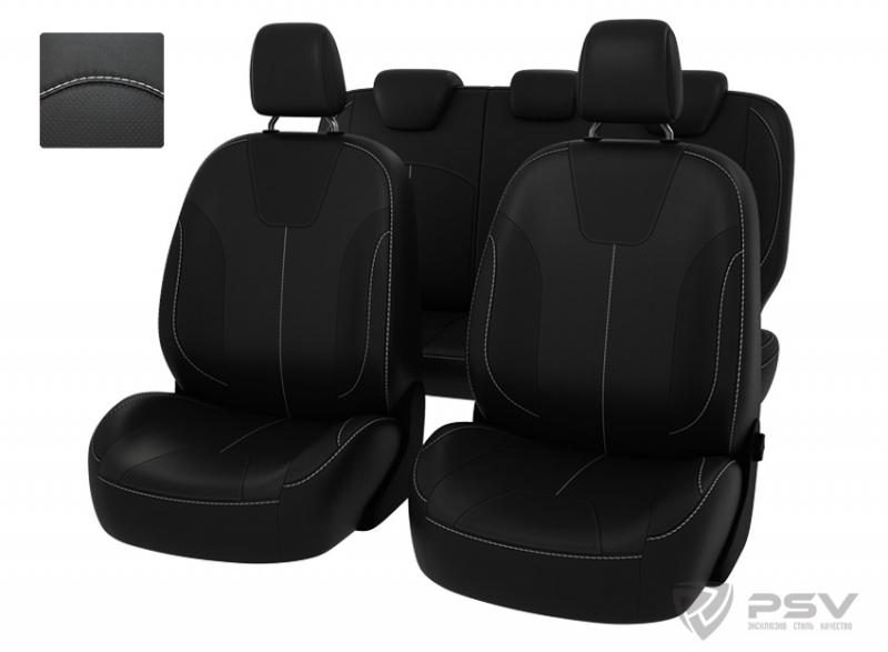 """Чехлы Ford Focus III 11-> (Trend Sport, Titanium) черный/отстрочка белая, экокожа """"Оригинал"""", 121087"""