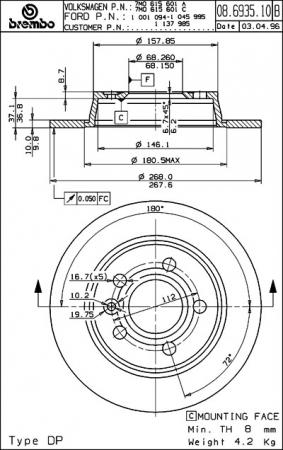 Диск тормозной задний, BREMBO, 08693510