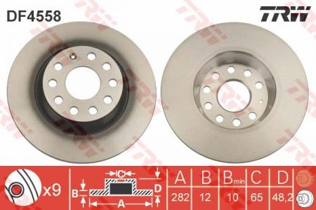 Диск тормозной задний, TRW, DF4558