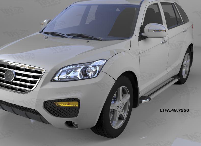 Пороги алюминиевые (Brillant) Lifan X60 (2011-) (серебр), LIFA487550