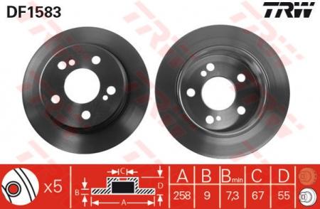 Диск тормозной задний, TRW, DF1583