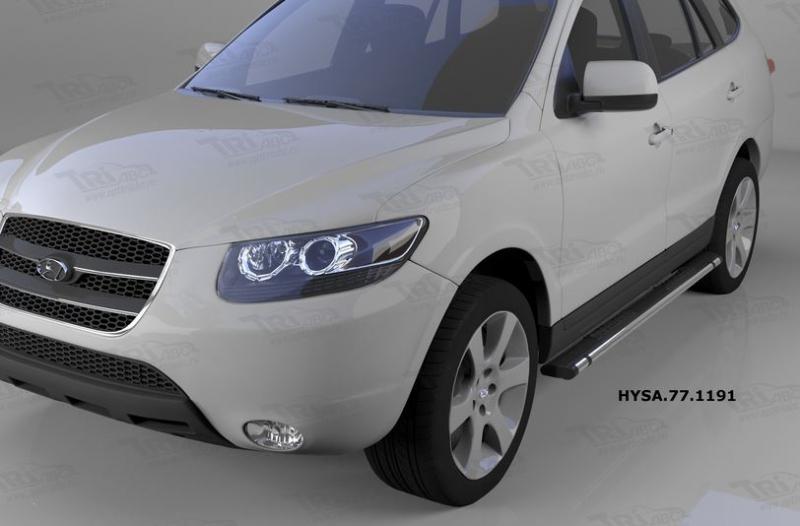 Пороги алюминиевые (Emerald Black) Hyundai Santa Fe (Хёндай Санта Фе) (2006-2010-2012) кроме Тагаз,