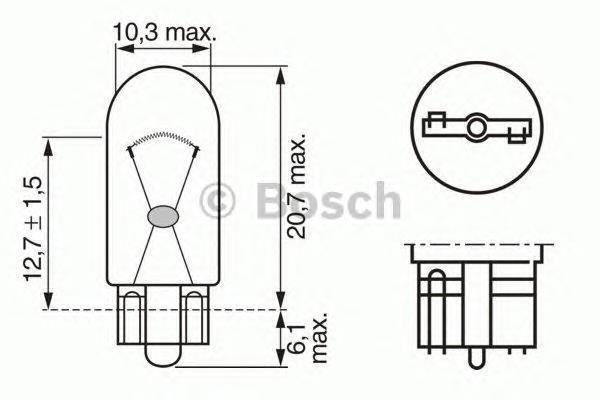 Лампа Trucklight, 24 В, 2 Вт, W2,1x9.5d, BOSCH, 1 987 302 516