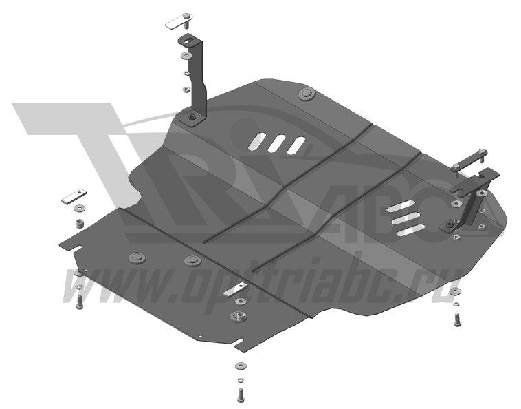 Защита картера двигателя, КПП Skoda Yeti 2009- VW Caddy 2004- V=2.0TD (сталь 2 мм), MOTODOR02733