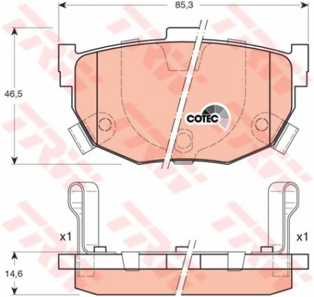 Колодки дисковые Задние, TRW, GDB3170