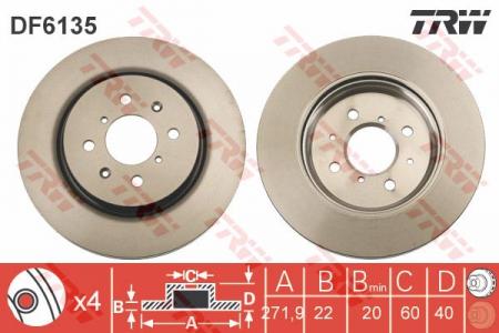 Диск тормозной передний, TRW, DF6135