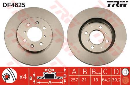Диск тормозной передний, TRW, DF4825
