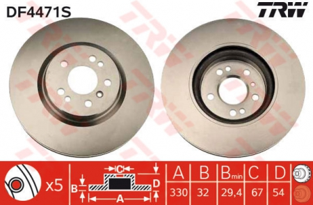 Диск тормозной передний, TRW, DF4471S