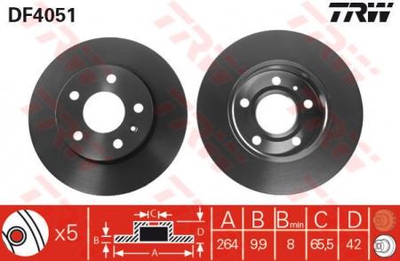 Диск тормозной задний, TRW, DF4051