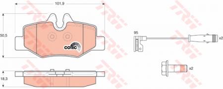 Колодки дисковые Задние, TRW, GDB1601