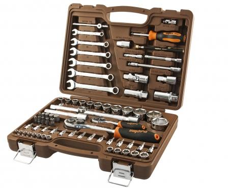 """OMT72SL Универсальный набор инструмента торцевые головки 1/4""""DR и 1/2""""DR, аксессуары к ним и комбинированные ключи, 72 предмета"""