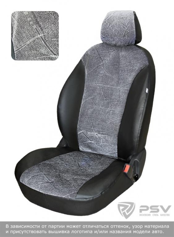 "Чехлы Hyundai Solaris 11-> диван цел.спинка дел. 2/3, серый флок, ""БРК"", 120402"