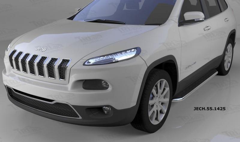 Пороги алюминиевые (Ring) Jeep Cherokee (2014-), JECH551425