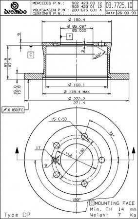 Диск тормозной задний, BREMBO, 08772510