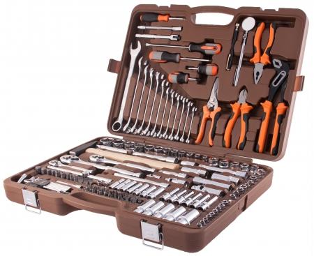 """OMT150S Универсальный набор инструмента торцевые головки 1/4"""", 3/8"""", 1/2""""DR 4-30 мм, аксессуары к ним, комбинированные ключи 8-22 мм,150 предметов"""