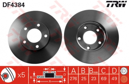 Диск тормозной передний, TRW, DF4384
