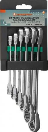 W68106S Набор ключей накидных трещоточных 8-19 мм, 6 предметов