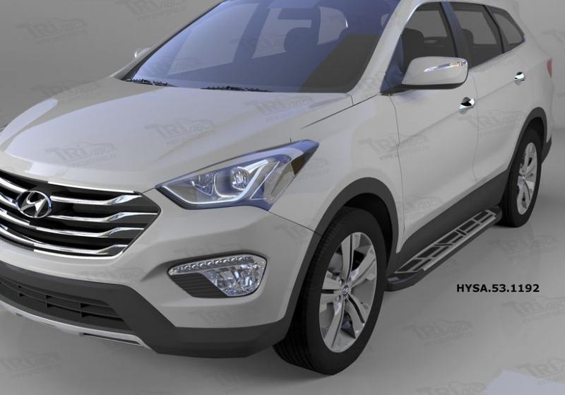 Пороги алюминиевые (Corund Silver) Hyundai Santa Fe (Хёндай Санта Фе) (2012-/2013-/2015-), HYSA53119