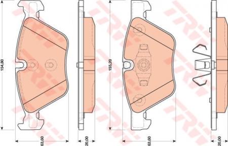 Колодки дисковые Передние, TRW, GDB1810
