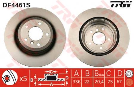 Диск тормозной задний, TRW, DF4461S
