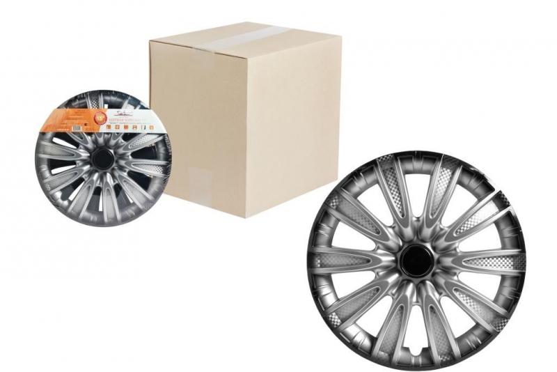 "Колпаки для колес AIRLINE 15""Торнадо +"" серебристо-черный, карбон 2 шт, AWCC1507"