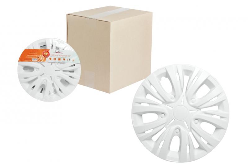 "Колпаки для колес AIRLINE 15""Лион"" белый , карбон. 2 шт, AWCC1503"