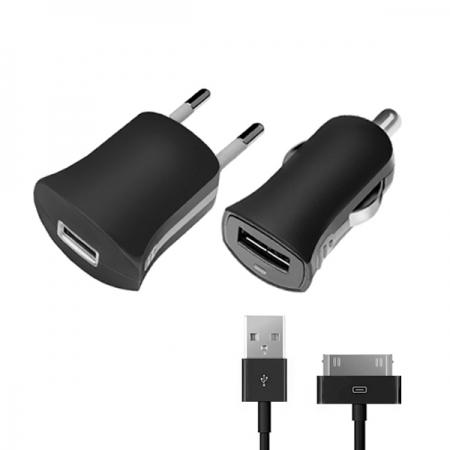 Набор: АЗУ+СЗУ 1А, дата-кабель с разъемом 30-pin для Apple (MFI), черный, Ultra, Deppa, 11153