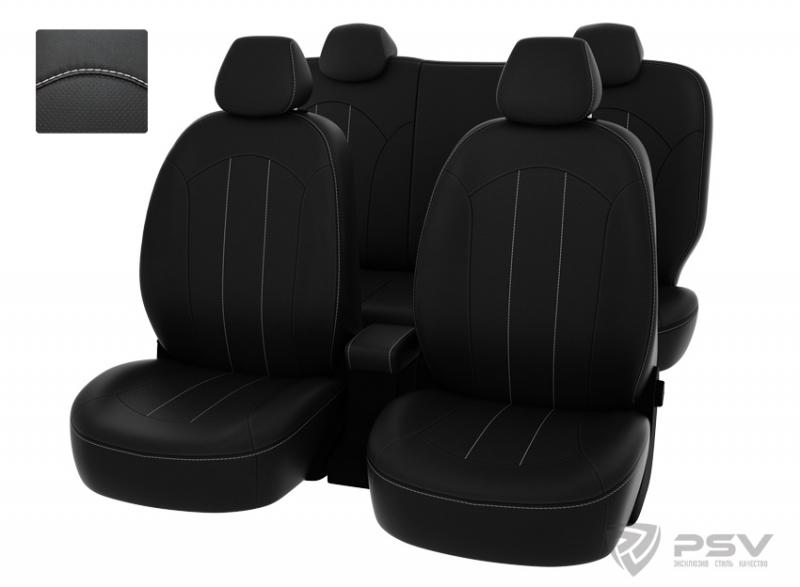 """Чехлы Hyundai Solaris 11-> H черный/отстрочка белая, экокожа """"Оригинал"""", 124378"""