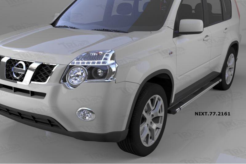 Пороги алюминиевые (Emerald Black) Nissan X-Trail (Ниссан Икстрейл) (2007-2010-2014), NIXT772161