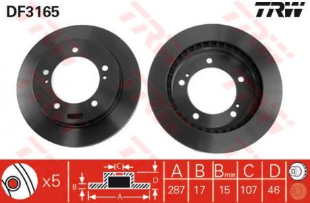Диск тормозной передний, TRW, DF3165