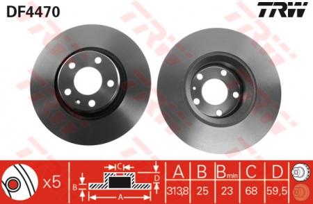 Диск тормозной передний, TRW, DF4470