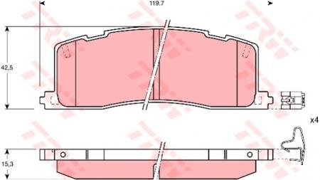 Колодки дисковые Задние, TRW, GDB1138